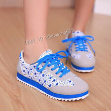 Women's Floral Flat Ventilate Casual Sport Canvas Loafers Slip on Single Shoes