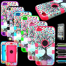 Shockproof Hybrid Impact Hard Soft Case Cover For iPod Touch 5 5th Gen Love Tree