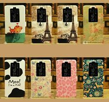 Cute Cartoon Painting Window View Wallet Flip Case Cover Stand For LG G2