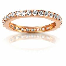 14k Rose Gold Plated Genuine Sterling Silver Clear CZ Eternity Ring Size 4 - 10