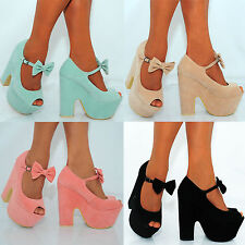 LADIES WOMENS CHUNKY BOW ANKLE STRAPS BOWS WEDGED PLATFORMS WEDGED HIGH HEELS
