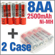 2 x Case + 8 AA Ni-MH 2500mAh rechargeable battery CFL