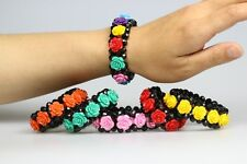 New Fashion Coral  Flower Swarovski Crystal Faceted Loose Bead Stretch Bracelet