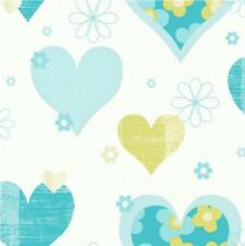LUXURY ARTHOUSE HAPPY HEARTS FLOWERS GIRLS CHILDRENS KIDS BEDROOM WALLPAPER T/G