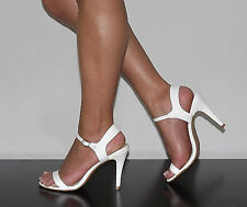 "Womens Bridal Shoes 4"" Heels with Ankle Tie Faux Patent Stiletto Wedding Shoes"