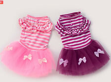 Good small girl dog pet clothes apparel stripe lace summer princess dress XS-L