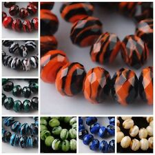 New 10pcs 12mm Stripe Design Rondelle Faceted Lampwork Loose Beads Glass Charm