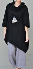 PACIFICOTTON Bryn Walker Pacific Cotton NOMA TUNIC Angled Hem S M L XL BLACK