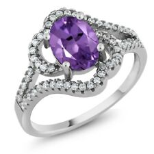 1.77 Ct Oval Natural Purple Amethyst 925 Sterling Silver Ring