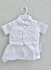 White Infant Baby Toddler boy baptism outfit 5 pieces set short pant wiht hat