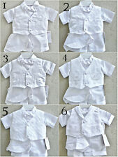 White Infant Baby Toddler boy baptism christening outfit 5 pieces set short pant