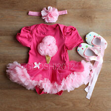 Ice cream 3pc Newborn Baby Girl Headband+Romper+Shoes Outfit Clothes Dress 3-12M