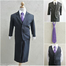 Black boy formal suit with purple long tie ring bearer wedding party graduation