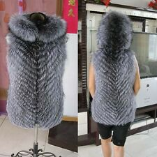 BF Real Silver Fox Fur Vest With Hood For Women Jacket Outerwear Warm Fur Coat