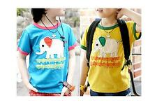 Baby Boy Girl Kids Toddlers Cartoon Elephant Color Matching Short Sleeve T-shirt