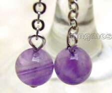SALE Big 8mm Round Purple natural Amethyst dangle earring silver S925 hook-ea395