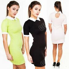 New Womens Ladies Peter Pan Collar Plain Mini Party Bodycon Dress Top Size 8 14