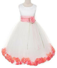 Ivory Petal Sash Flower Girls Dress Dress Wedding Elegant Pageant Bridesmaid New