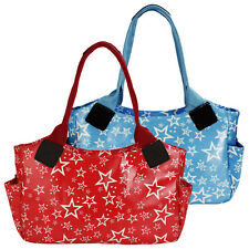 Ladies Womens Girls Red Blue Tote Shopper Shoulder Bag Oil Cloth Star Pattern