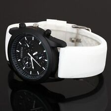 New 4 Colors Cool Men's Luxury Black Dial Sports Watch Silicone Strap Wristwatch
