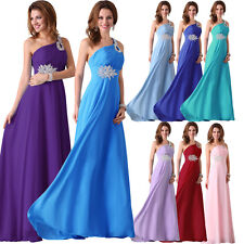 Charming One Shoulder Formal Evening Bridesmaid Party Prom Long Chiffon Dress