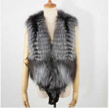 Fashion Real Silver Fox Fur Women's Vest With Fox Head Luxury Warm Plus Size XXL