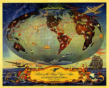 Póster Mundo Viajes PAN AM 1941 Routes Of The Flying Clipper Ships A1 A2 A3 A4