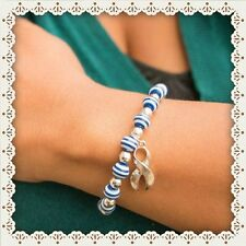 Lou Gehrig's Disease Bracelet. Blue/White Stripe with Silver Plated Charm