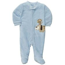 New Carter's Sleep n Play Dog And Monkey Applique Blue Footed PJs NB 3 6 9m NWT
