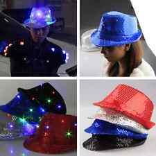 Disco Hip-hop Night Caps Flashing Super Cool LED Light Up Hat Party Crazy Play ~