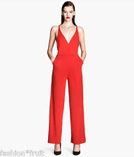 H&M Red Jumpsuit Romper Backless V-Neck Wide Leg Trousers Womens UK 8 14 16