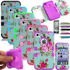 Flowers Hybrid Impact Rubber Silicone Phone Case Cover For Apple iPhone 4 4S 4G