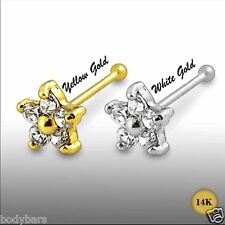 14K GOLD JEWELLED FLOWER NOSE PIN BALL END YWLLOW OR WHITE GOLD 22G