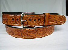 """Belt Tan Floral 2 Ply Lined 1.5"""" Heavy Duty Leather Gun Carry Holster"""