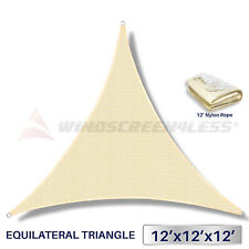 12'x12'x12' Sun Shade Sail UV Top Outdoor Canopy Patio Lawn Triangle w/Rope