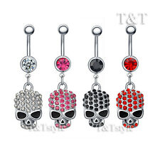 TT Multi-Crystal Skull Dangle Belly Bar Ring Four Colour Available (BL01)