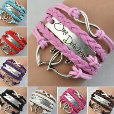 Girls One Direction 1D Infinity Heart Stylish Bracelet, All Colours