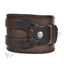Men's Gothic Bracelet Band Wrap Wide Genuine Leather Wristband Cuff