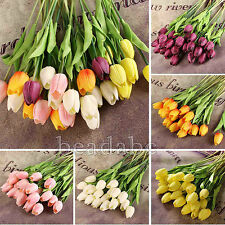 6Head Tulip Flower Latex Real Touch For Bridal Wedding Bouquet Home Decor 6Color