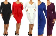 PLUS SIZE V CLEAVAGE SOLID PEPLUM RUFFLE FRONT FITTED LONG SLEEVE BODYCON DRESS
