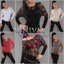 NEW SEXY 2 PIECE LACY TOP SET 6 8 10 LONG SLEEVE SHIRTS WOMEN LACE BLOUSE XS S M