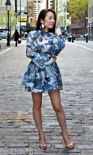 H&M Conscious Blue Print Lyocell Frilled Short Tunic Dress New Exclusive 2014