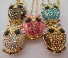 5 colors, Betsy Johnson, big eyes owl necklace crystal belly bags # N138huen