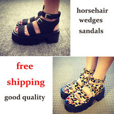 Gladiator summer leopard print open toe wedges platform Strappy sandals 620-24