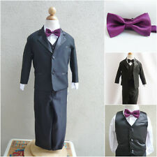 Black boy formal suit with plum purple bow tie wedding party pageant graduation