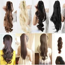 Clip In Ponytail Pony Tail Hair Extensions Piece Wavy Style Wrap/claw On Hair hg