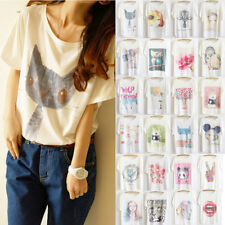 Thin Plus Size Loose Batwing Sleeve Women's Prints T-Shirt Casual Tee Top Blouse