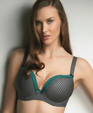 Freya Taylor AA4971 Charcoal/Teal UW Moulded Plunge Bra NWT Great Cleavage