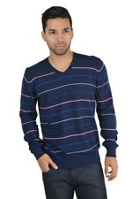 Armani Jeans Wool Cashmere Striped V-Neck Sweater Sz S M L XL 2XL 3XL