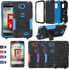 Hybrid Rugged Tuff Armor Stand Hard Case Cover For LG Optimus L90 D410 D415